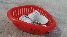 3 copos dos chás na cesta Imagem de Stock