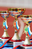 Copos dourados para vencedores XXI do supermarathon de Moscou Imagens de Stock