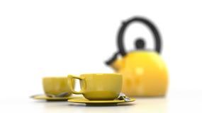 Copos e chaleira amarelos de café Foto de Stock Royalty Free