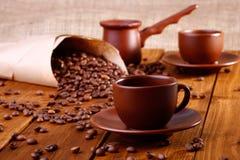 Copos e utensílio de Coffe Imagem de Stock
