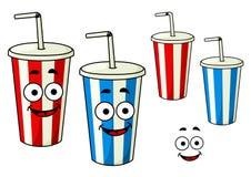Copos listrados da soda afastada dos desenhos animados Foto de Stock
