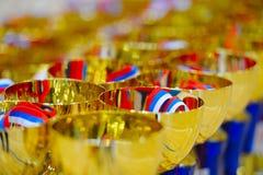 Copos para vencedores dos eventos desportivos, competições, festivais Imagens de Stock Royalty Free