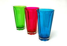 Copos plásticos verdes, vermelhos, azuis Fotos de Stock Royalty Free
