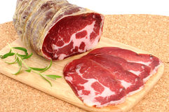 Coppa. A piece of  coppa legata stagionata is an italian speciality Royalty Free Stock Photography
