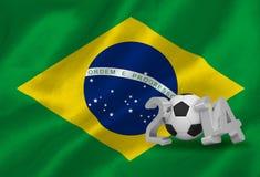Coppa del Mondo 2014 con la bandiera del Brasile Fotografia Stock Libera da Diritti