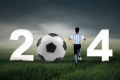 Coppa del Mondo 2014 con un uomo Fotografia Stock
