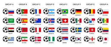 Coppa del Mondo 2018 di calcio La Russia 2018 coppe del Mondo, gruppo del gruppo e bandiere nazionali Insieme delle bandiere nazi Immagine Stock Libera da Diritti