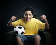 Coppa del Mondo di calcio sulla TV fotografia stock