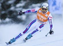 Coppa del Mondo di sci alpino - addestramento in discesa di Val Gardena Fotografia Stock