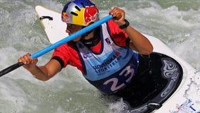 Coppa del Mondo di slalom ICF della canoa - Viktoria Wolffhardt (Austria) Immagine Stock Libera da Diritti