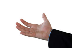 Copped hand on businessman holding invisible product Royalty Free Stock Photography