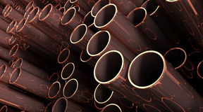 Copper. 3D rendered illustration of copper metal pipes Stock Photo