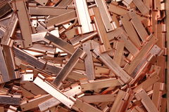 Copper. Parts punched and bent ready for assembly Royalty Free Stock Photography