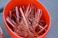 Copper. A bucket of recycled scrap copper wire royalty free stock photo