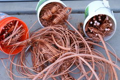 Copper. A pile of recycled scrap copper wire stock images