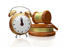 Copper Alarm Clock and Judge Gavel Mallet. A 3D illustration of a antique style copper alarm clock placed in front of a wooden judge mallet or gavel and block Royalty Free Stock Photo