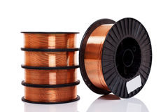 Copper alloy welding wire on spools Stock Images