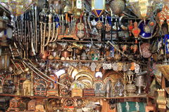 Copper artisans shop in Fes Royalty Free Stock Photography