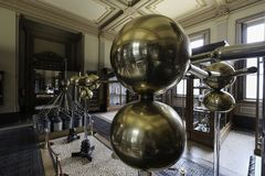 copper balls of electrificatio machine the Teylers Museum stock photography