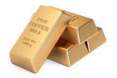 Copper bars, 3D rendering Stock Image