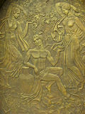 Copper bas-relief on the basis of ancient myths Stock Photos
