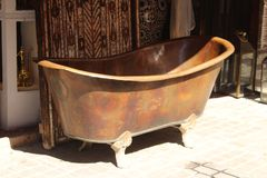 Copper bath for sale in Marrakesh, Morocco stock photography