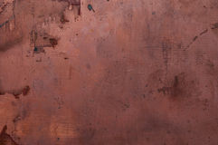 Copper board. Old oxidized and scratched copper plate Royalty Free Stock Images