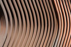 Copper-brass piping of machinery radiator Royalty Free Stock Photos
