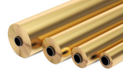 Copper or bronze foil rolls, 3D rendering. On white background vector illustration