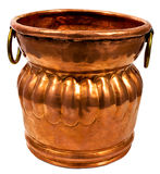 Copper Bucket. Old copper bucket or vase. Isolated on white Stock Photo