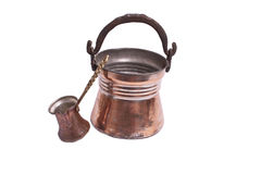Copper bucket and coffepot Stock Photo