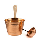 Copper bucket and ladle composition stock photography
