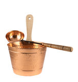 Copper bucket and ladle composition isolated Royalty Free Stock Photography