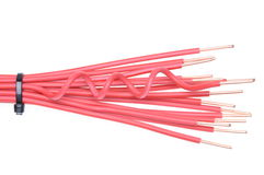 Copper cable with cable ties used in electrical installations Stock Images