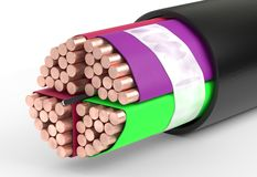 Copper cable. 3d illustration isolated on white Stock Images