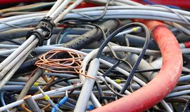 Copper cable and electric cables in a landfill for recycling Stock Photos