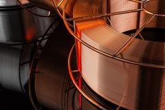 Copper cable factory. Electric welding, on a black background Royalty Free Stock Photo