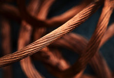 Copper cables. Abstract background or texture Braided copper cables stock image