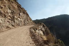 Copper Canyon road. Close to Cerocahui and Bahuichivo that is used by trucks and regular cars, connecting Chihuahua to Los Mochis in Mexico. Copper Canyon is a Royalty Free Stock Image