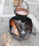 Copper cauldron over the fire made of burning woods and boiling. Old copper cauldron over the fire made of burning woods and boiling water royalty free stock photography