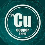 Copper chemical element. Sign with atomic number and atomic weight. Chemical element of periodic table. Molecule And Communication Background. Connected lines vector illustration