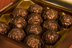 Copper chocolate praline box Stock Photography