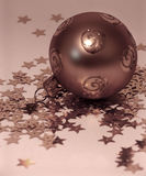 Copper christmas balls. With little stars Royalty Free Stock Photo