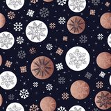 Copper Christmas winter snowflake seamless pattern Vector Illustration