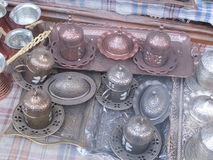 Copper Coffee Cooking Utensils in Turkey Royalty Free Stock Images