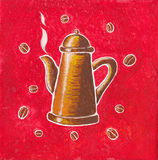 Copper coffee pot. And coffee beans on red background Royalty Free Stock Photography
