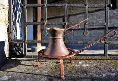 Copper coffee pot, cup. Holder, hand forging Royalty Free Stock Photos