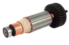 Copper Coils inside Electric Motor Stock Photo