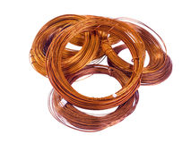 Copper coils on white background Royalty Free Stock Photo