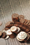 Copper coin pile Stock Images